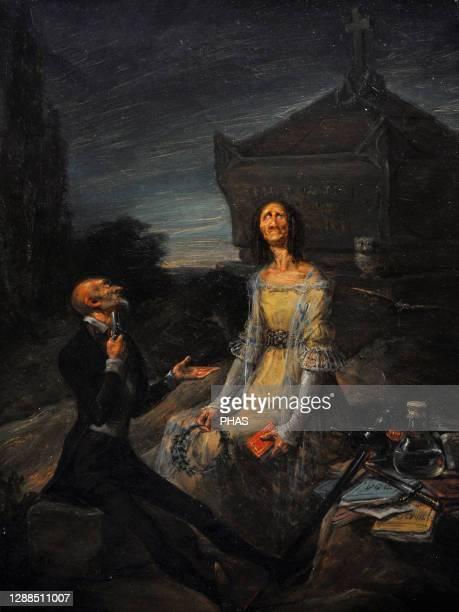 Leonardo Alenza . Spanish painter. Satire of the Romantic Suicide for love, ca.1839. Museum of Romanticism, Madrid, Spain.