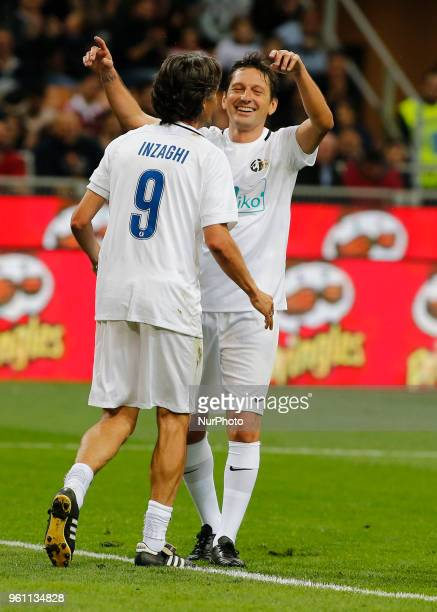 Leonardo and Pippo Inzaghi during La Notte del Maesto the last match of Andrea Pirlo in Milan on May 21 2018