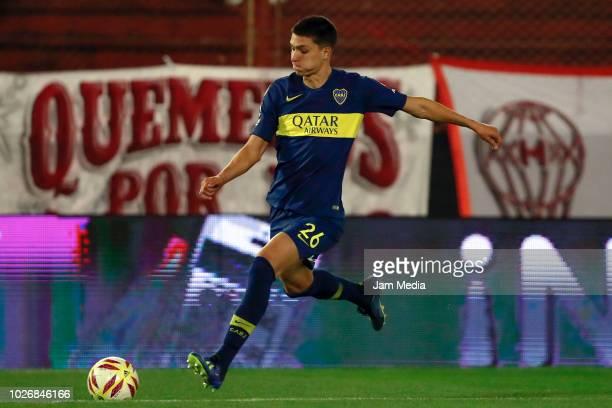 Leonardo Balerdi of Boca Juniors controls the ball during a match between Huracan and Boca Juniors as part of Superliga Argentina 2018/19 at Estadio...