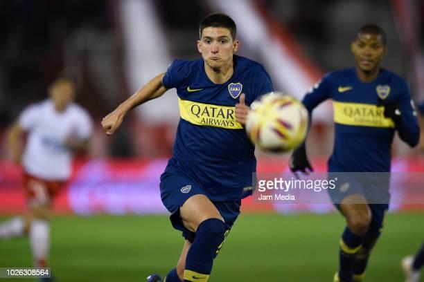 Leonardo Balerdi of Boca Juniors in action during a match between Huracan and Boca Juniors as part of Superliga Argentina 2018/19 at Estadio Tomas...