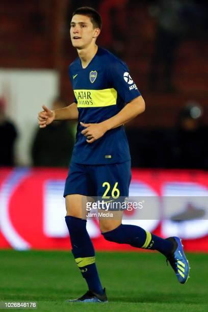 Leonardo Balerdi of Boca Juniors looks on during a match between Huracan and Boca Juniors as part of Superliga Argentina 2018/19 at Estadio Tomas...