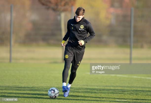 Leonardo Balerdi of Borussia Dortmund controls the ball during a training session of the reservists at the Borussia Dortmund training center on...
