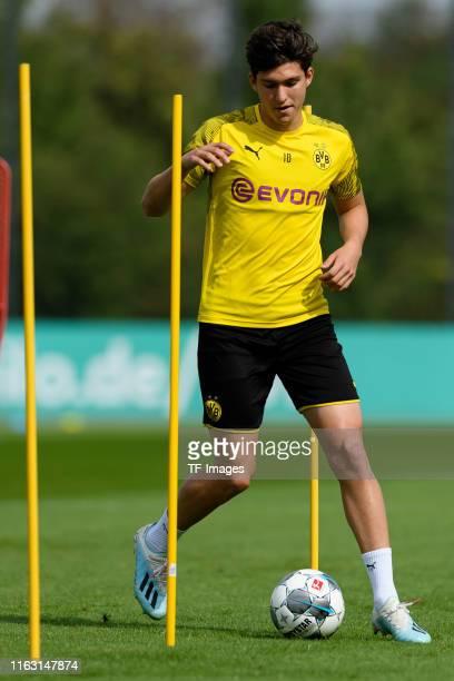 Leonardo Balerdi of Borussia Dortmund controls the ball during the Borussia Dortmund Training Session on August 20 2019 in Dortmund Germany