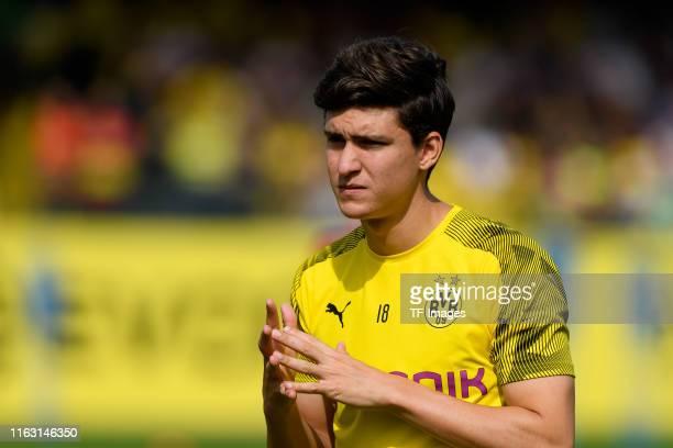 Leonardo Balerdi of Borussia Dortmund looks on during the Borussia Dortmund Training Session on August 20 2019 in Dortmund Germany