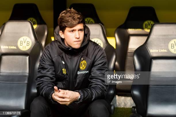 Leonardo Balerdi of Borussia Dortmund looks on during the Bundesliga match between Borussia Dortmund and 1 FSV Mainz 05 at Signal Iduna Park on April...