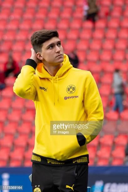 Leonardo Balerdi of Borussia Dortmund looks on prior to the UEFA Champions League group F match between Slavia Praha and Borussia Dortmund at Eden...