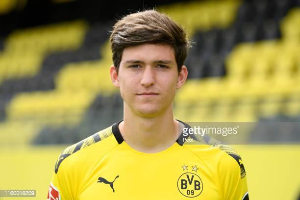 Leonardo Balerdi of Borussia Dortmund poses during the team presentation at the Dortmund Training Ground on August 6 2019 in Dortmund Germany