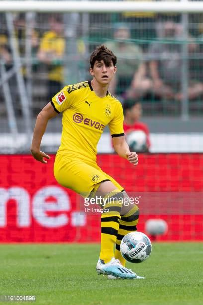 Leonardo Balerdi of Bourssia Dortmund controls the ball during the preseason friendly match between Preussen Muenster and Borussia Dortmund at...