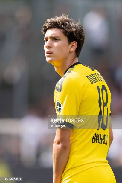 Leonardo Balerdi of Bourssia Dortmund looks on during the preseason friendly match between Preussen Muenster and Borussia Dortmund at Preussenstadion...