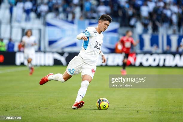 Leonardo BALERDI of Marseille during the Ligue 1 Uber Eats match between Marseille and Rennes at Orange Velodrome on September 19, 2021 in Marseille,...