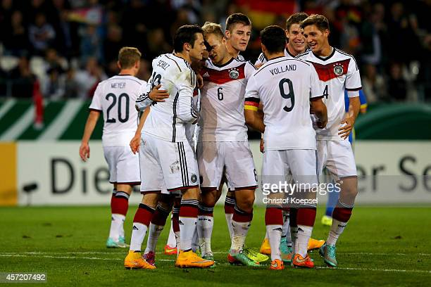 Leonardo Bittencourt celebrates the second goal with his team mates during the UEFA U21 Championship Playoff second leg match between Germany and...