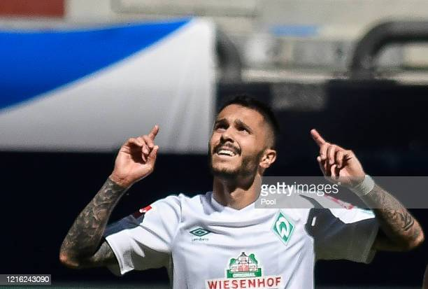 Leonardo Bittencourt of Bremen celebrates after scoring his sides first goal during the Bundesliga match between FC Schalke 04 and SV Werder Bremen...
