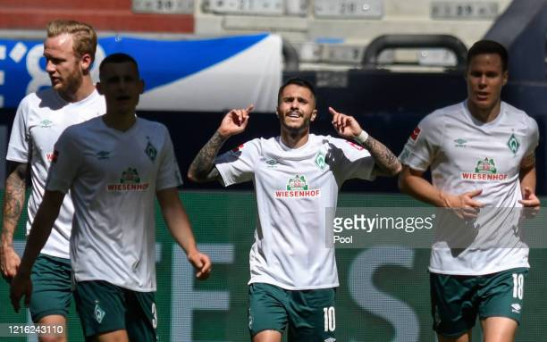Leonardo Bittencourt of Bremen celebrates scoring his sides first goal during the Bundesliga match between FC Schalke 04 and SV Werder Bremen at...