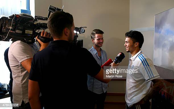 Leonardo Bittencourt of Germany attends a press conference ahead of the UEFA European Under21 semi final match against Portugal at NH Hotel on June...