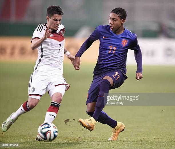 Leonardo Bittencourt of Germany challenges Jean-Paul Boetius of the Netherlands during the U21 Germany v U21 Netherlands International Friendly match...