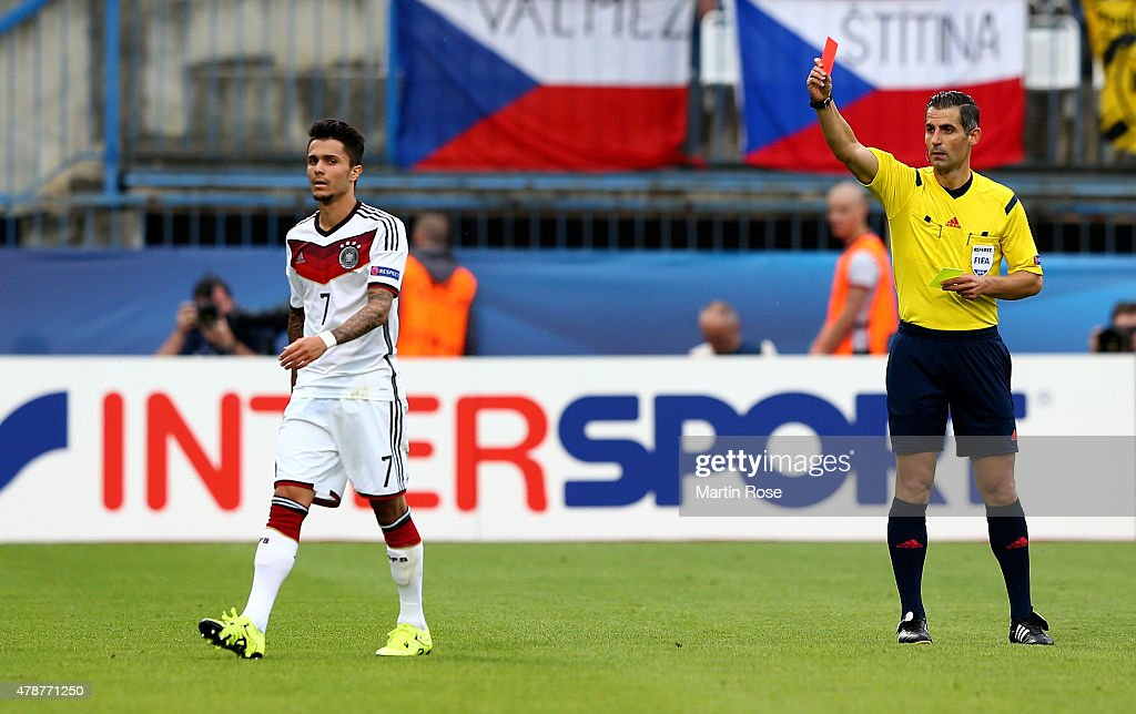 Leonardo Bittencourt of Germany gets the yellow red card during the UEFA European Under-21 semi final match Between Portugal and Germany at Ander Stadium on June 27, 2015 in Olomouc, Czech Republic.