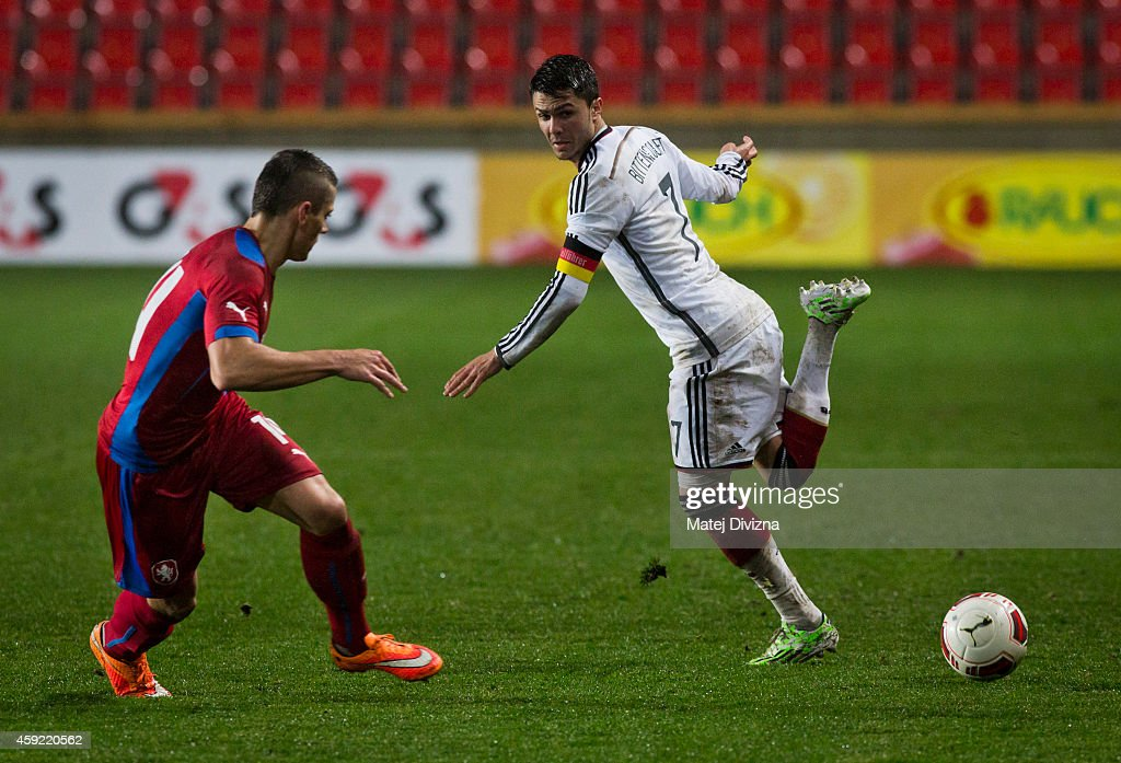 Leonardo Bittencourt (R) of Germany in action against Tomas Holes of Czech Republic during the international friendly match between U21 Czech Republic and U21 Germany on November 18, 2014 in Prague, Czech Republic.