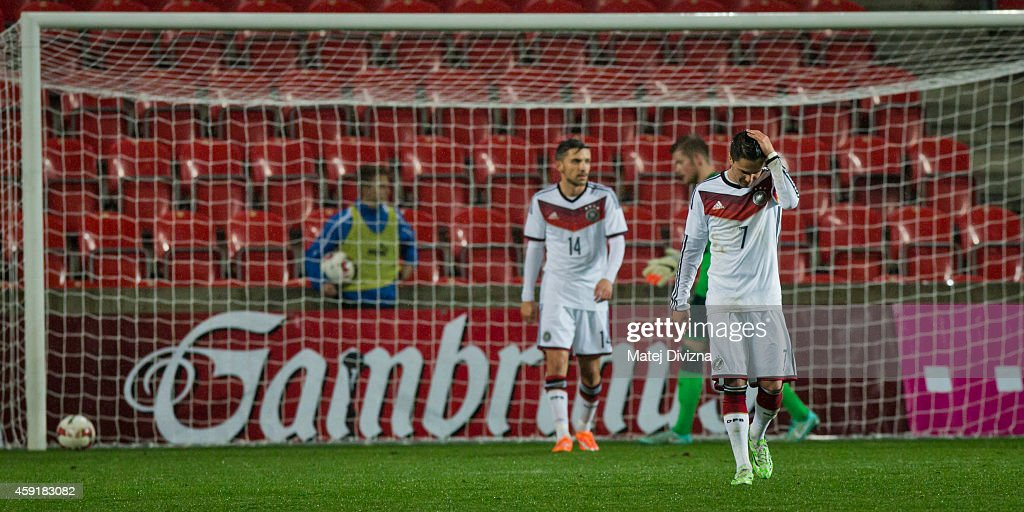 Leonardo Bittencourt of Germany looks dejected after the Czech Republic scored a goal during the international friendly match between U21 Czech Republic and U21 Germany on November 18, 2014 in Prague, Czech Republic.