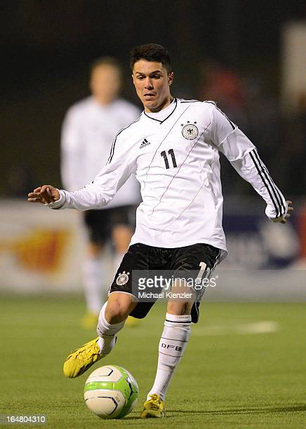 Leonardo Bittencourt of Germany runs with the ball during the international friendly match between U20 Switzerland and U20 Germany at Eps Stadium on...