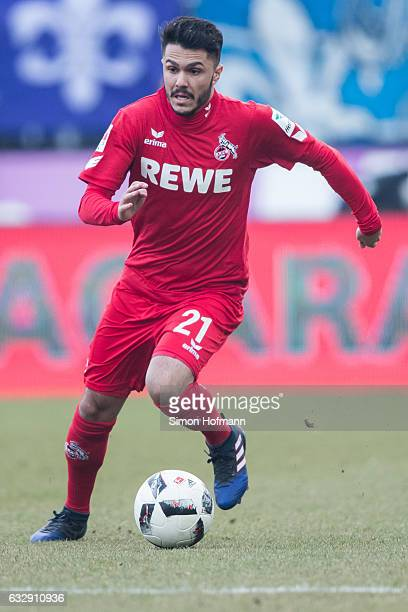 Leonardo Bittencourt of Koeln controls the ball during the Bundesliga match between SV Darmstadt 98 and 1 FC Koeln at JonathanHeimesStadion am...