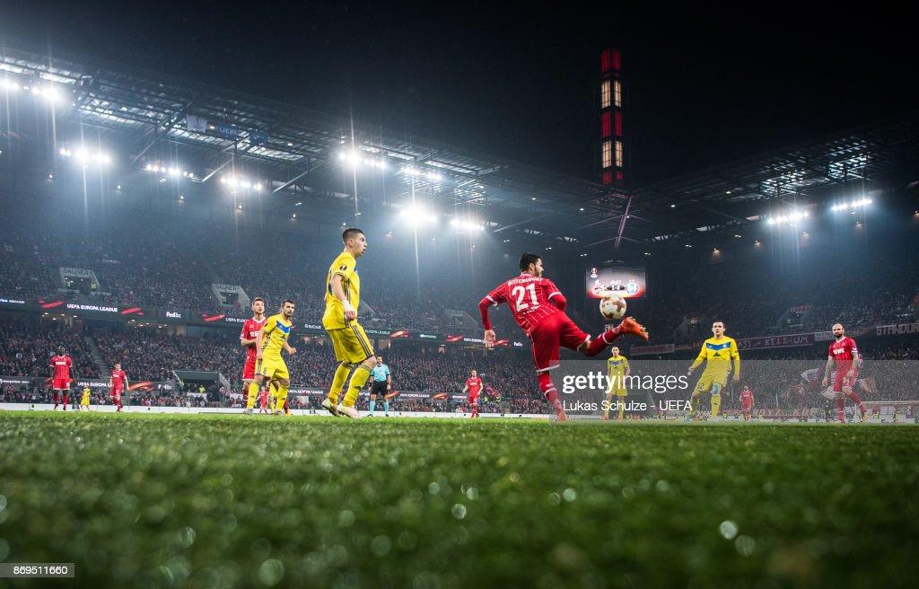 Leonardo Bittencourt of Koeln (R) kicks the ball during the UEFA Europa League group H match between 1. FC Koeln and BATE Borisov at RheinEnergieStadion on November 2, 2017 in Cologne, Germany.