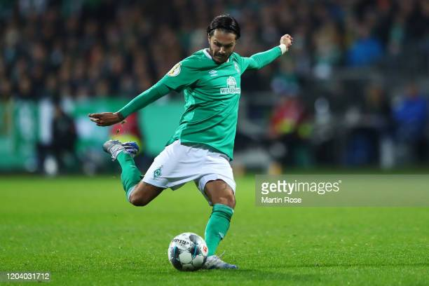 Leonardo Bittencourt of SV Werder Bremen scores his team's second goal during the DFB Cup round of sixteen match between SV Werder Bremen and...
