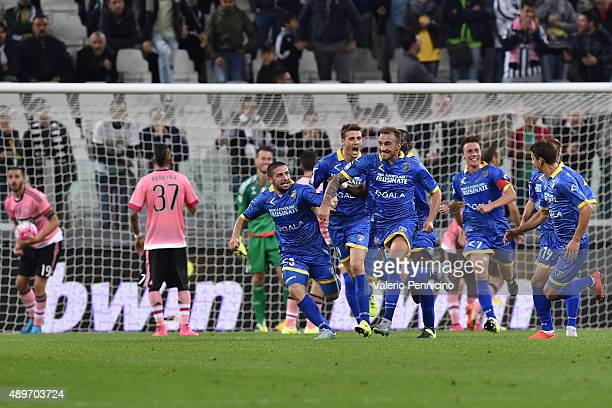 Leonardo Blanchard of Frosinone Calcio celebrates his goal with team mates during the Serie A match between Juventus FC and Frosinone Calcio at...