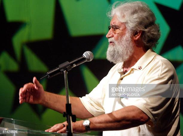 Leonardo Boff catholic theologist delivers a speech during a meet of intellectuals with Luis Inacio Lula da Silva presidential candidate of Brazil...