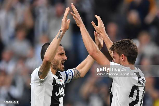 Leonardo Bonucci and Daniele Rugani of Juventus celebrate the winning of the Italian championship 20182019 after the Serie A match between Juventus...