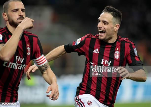 Leonardo Bonucci and Giacomo Bonaventura during the Italian Serie A football match between AC Milan and Sampdoria at the San Siro stadium in Milan on...