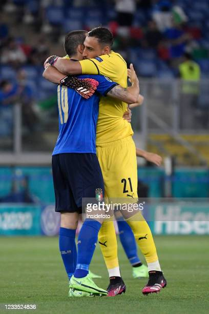Leonardo Bonucci and Gianluigi Donnarumma of Italy embrace each other during the Uefa Euro 2020 Group A football match between Italy and Switzerland....
