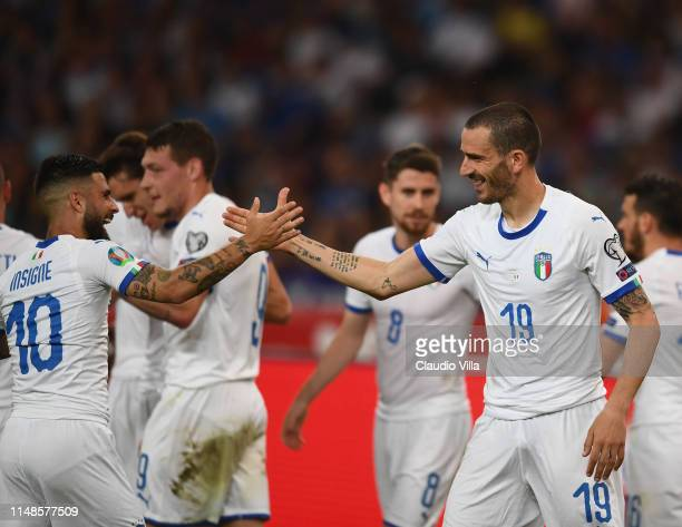 Leonardo Bonucci and Lorenzo Insigne of Italy celebrate after scoring the goal during the UEFA Euro 2020 Qualifier between Greece and Italy on June 8...