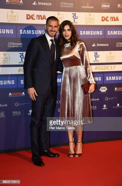 Leonardo Bonucci and Martina Maccari attend the Gran Gala Del Calcio 2017 on November 27 2017 in Milan Italy