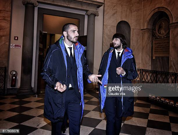 Leonardo Bonucci and Mattia Perin of Italy attend to launch the Ermanno Scervino Italy Suit on March 21, 2016 in Florence, Italy.