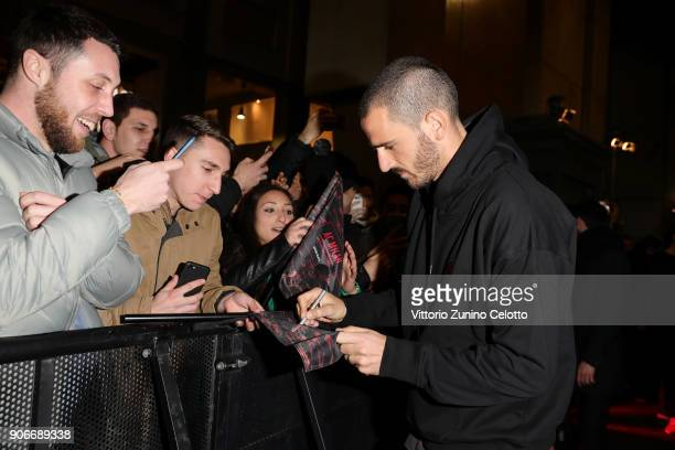 Leonardo Bonucci attends DIESEL X AC MILAN SPECIAL COLLECTION on January 18 2018 in Milan Italy