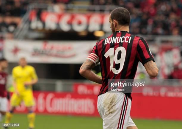 Leonardo Bonucci during Serie A match between Milan v Chievo Verona in Milan on March 18 2018