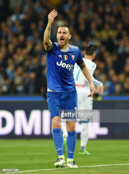 Leonardo Bonucci during the TIM Cup match between SSC Napoli and Juventus FC at Stadio San Paolo on April 5 2017 in Naples Italy