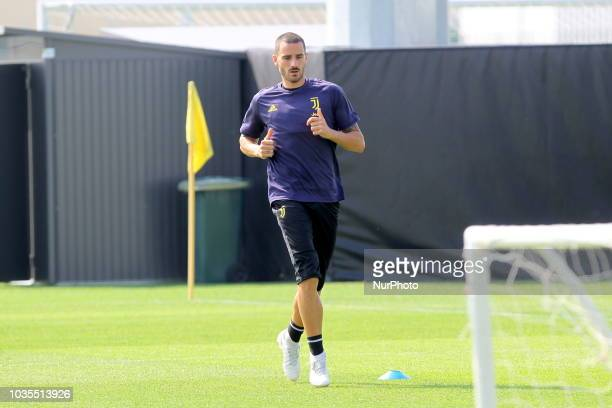 Leonardo Bonucci during the training on the eve of the UEFA Champions League match between Valencia CF and Juventus FC at Juventus Training Center on...