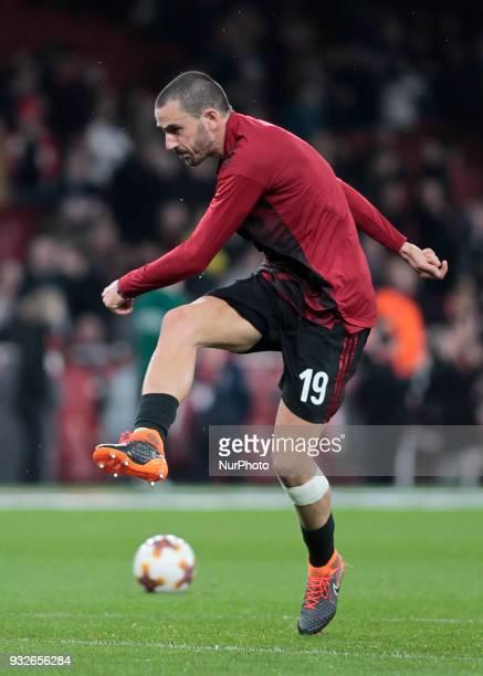 Leonardo Bonucci during the UEFA Europa League Round of 16 2nd leg match between Arsenal and AC MIian at Emirates Stadium on March 15 2018