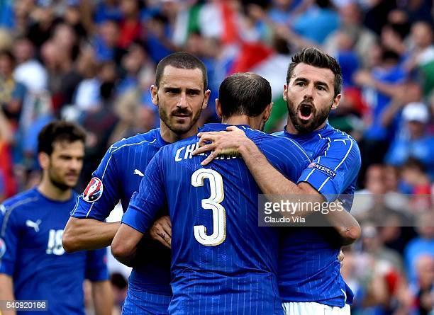 Leonardo Bonucci Giorgio Chiellini and Andrea Barzagli of Italy celebrate at the end of the UEFA EURO 2016 Group E match between Italy and Sweden at...
