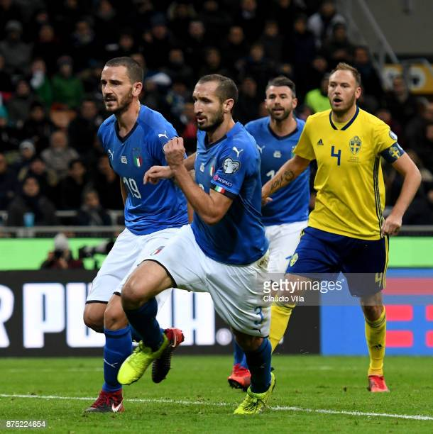 Leonardo Bonucci Giorgio Chiellini and Andrea Barzagli of Italy LOOK ON during the FIFA 2018 World Cup Qualifier PlayOff Second Leg between Italy and...