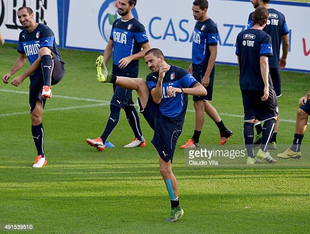 Leonardo Bonucci in action during the Italy training session at Coverciano on October 6, 2015 in Florence, Italy.
