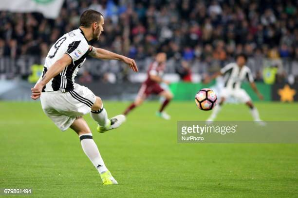 Leonardo Bonucci in action during the Serie A football match between Juventus FC and Torino FC at Juventus Stadium on may 06 2017 in Turin Italy