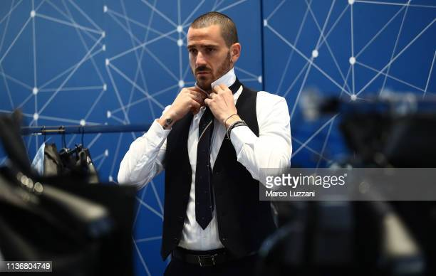 Leonardo Bonucci looks on ahead of the Italy team photo with the new Armani suit at Centro Tecnico Federale di Coverciano on March 19 2019 in...