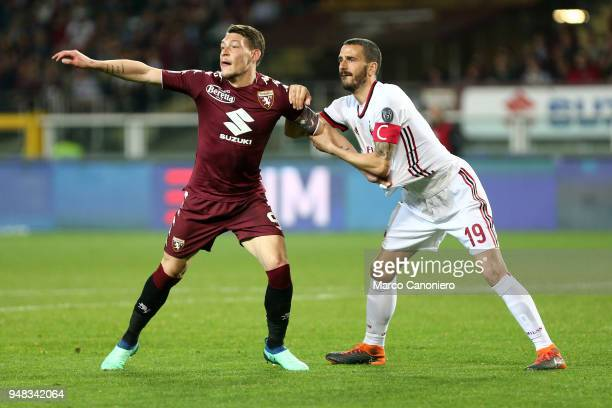 Leonardo Bonucci of Ac Milan and Andrea Belotti of Torino Fc in action during the Serie A football match between Torino Fc and Ac Milan The match end...