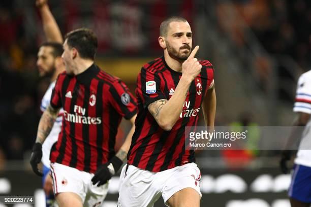 Leonardo Bonucci of Ac Milan celebrate after scoring a goal during the Serie A football match between AC Milan and Uc Sampdoria The goal will be...