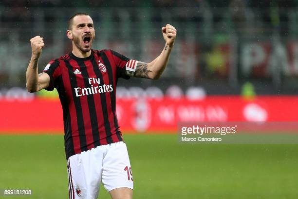 Leonardo Bonucci of Ac Milan celebrate et the end of the Tim Cup football match between AC Milan and Fc Internazionale Ac Milan wins 10 over Fc...