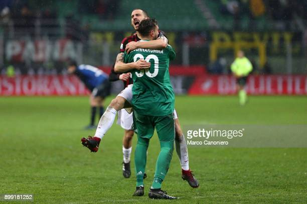 Leonardo Bonucci of Ac Milan celebrate with his teammate Antonio Donnarumma at the end of the Tim Cup football match between AC Milan and Fc...
