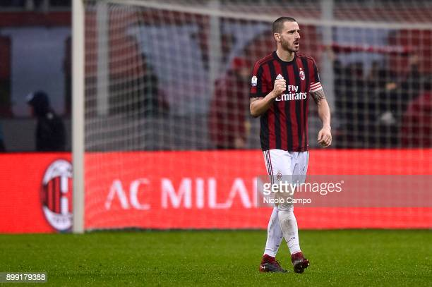 Leonardo Bonucci of AC Milan celebrates the victory at the end of thethe TIM Cup football match between AC Milan and FC Internazionale AC Milan won...