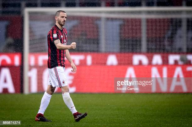 Leonardo Bonucci of AC Milan celebrates the victory at the end of the Serie A football match between AC Milan and Bologna FC AC Milan won 21 over...